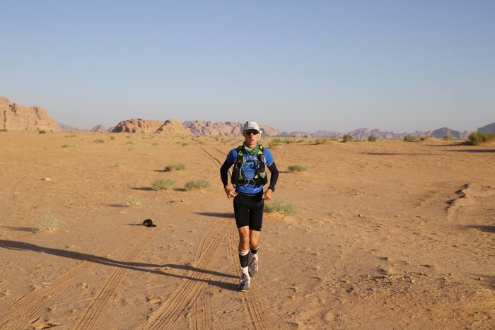 The author running in the Ultra X Jordan