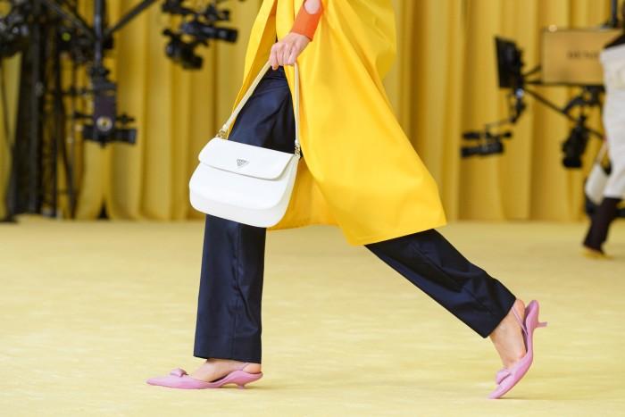 Prada brushed-leather Cleo shoulderbag, £1,520, seen on the spring/summer 2021 catwalk