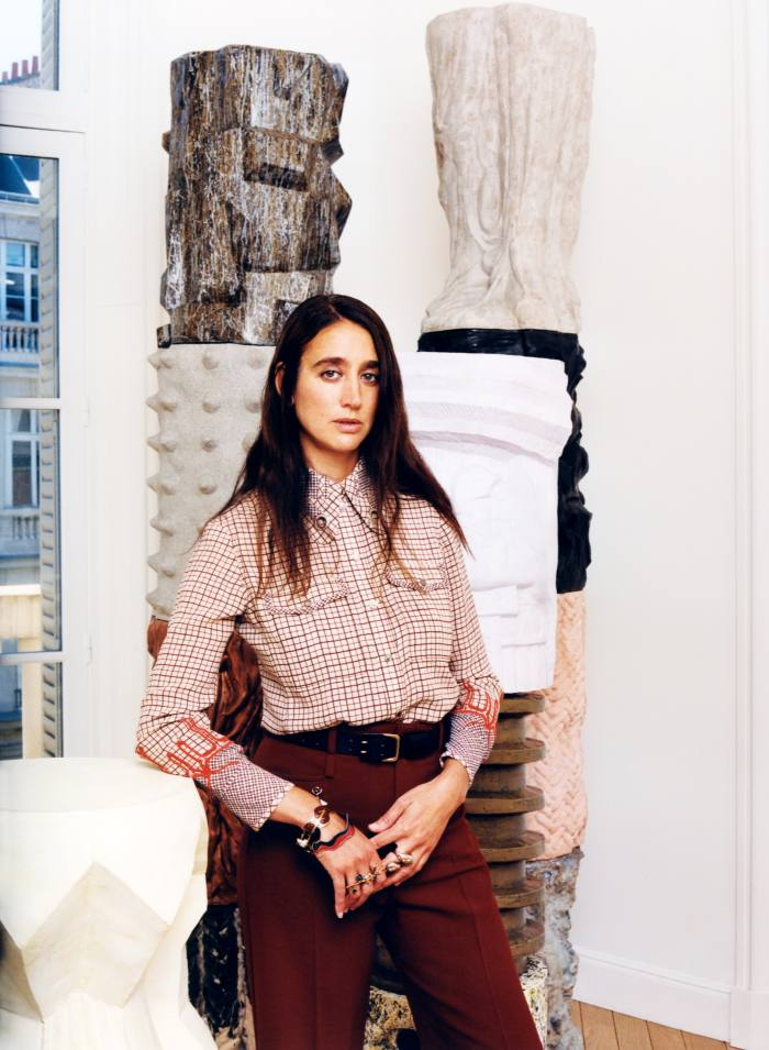 Natacha Ramsay-Levi wears Chloé Rose Window Pane shirt, £1,320, trousers, £845, and Franckie belt, POA