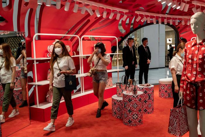 Shoppers at a mall in Beijing. Savills found that footfall last month at high-end shopping malls in three of China's top five cities had returned to, or exceeded, pre-virus levels