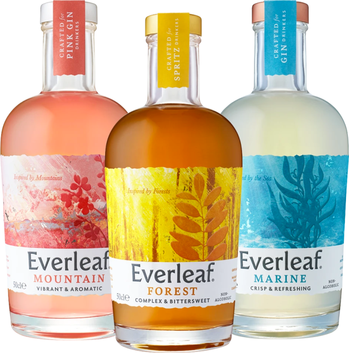 Everleaf Drinks (from left: Mountain, Forest and Marine), 50cl, £18 each