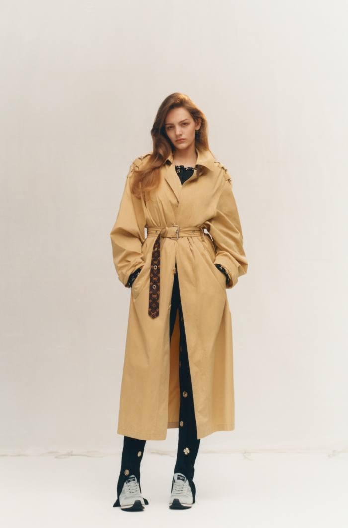Louis Vuitton poplin trench coat, £3,200. Chanel stretch-jersey jacket, £5,190 (just seen), and jersey velvet trousers, £2,745. Mizuno for Margaret Howell running shoes, £225. Bottega Veneta sterling-silver earrings, £270 forapair