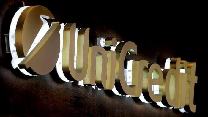 Sign showing UniCredit company logo
