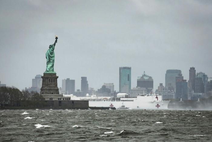 US Navy hospital ship in New York, on April 30