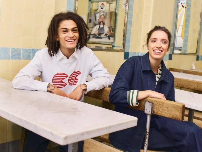 Community Clothing is designed tocreate work for Britain's dwindling textile industry. On right: Chore jacket, £89, Breton top, £35, and Work trousers, £59