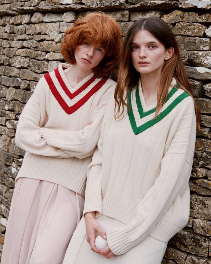 From left: Edwina wears Alex Eagle cashmere jumper, £420. Loro Piana cashmere and silk skirt, £2,235. Primrose wears Alex Eagle cashmere jumper, £420. Brunello Cucinelli linen skirt, £940