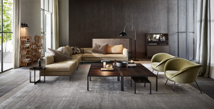 From left: Vincent Van Duysen for Molteni&C aluminium and cotton Paul sofa, £13,504, steel and eucalyptus Jan tables, £7,050 for set, and steel and wood Quinten cupboard, £5,080
