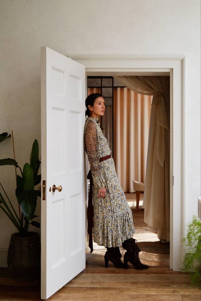 Yokoyama ina vintage 1930s dress and her 1970s Yves Saint Laurent boots