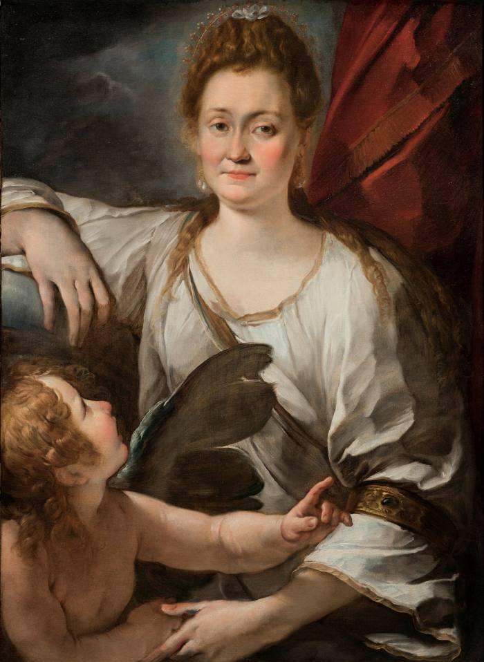 'Portrait of a Lady with a Putto (Allegorical portrait of Orsola Cecchini as Venus)' by Giulio Cesare Procaccini (c.1620-25)