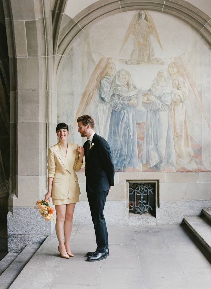 Amy Merrick andherhusband, Philip, after their civil wedding ceremony inZurich, September 2020