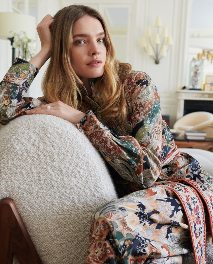 Vodianova at home in Paris, wearing a Chufycotton Yonjumpsuit, $575