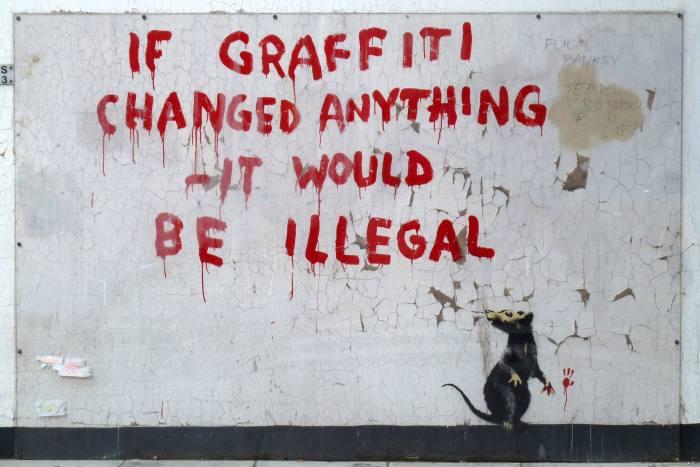 Street art by Banksy in Fitzrovia, London, 2011