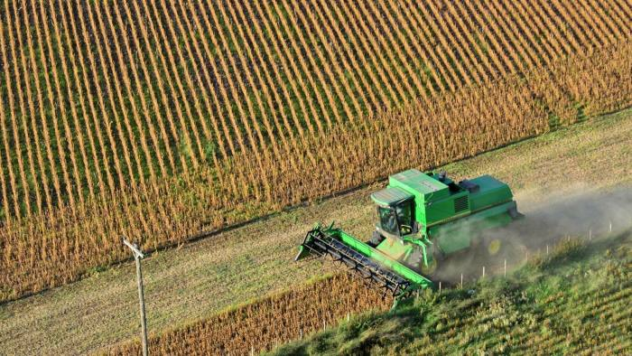 Soybeans are harvested near Rojas, Argentina