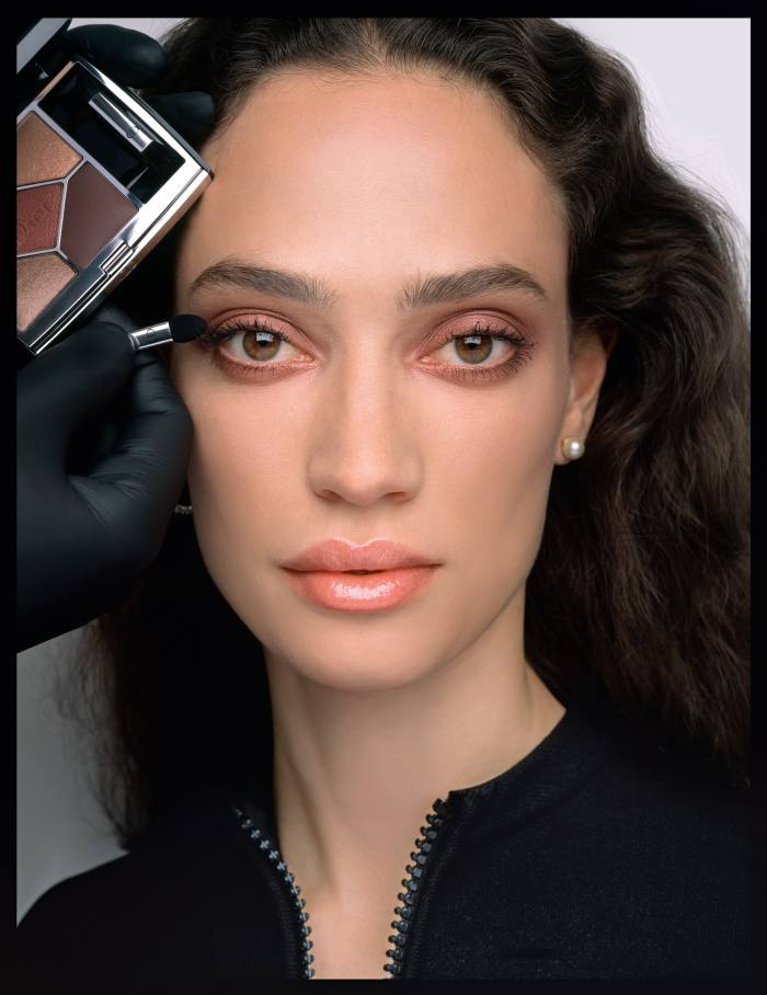 Sophie Koella wears Dior Forever 1W and 2W foundation, Dior Forever Skin Correct 0.5N and 1W concealer, Diorskin Nude Air Loose Powder 020 Light Beige, Diorshow Maximizer 3D lash primer, Diorshow Iconic Overcurl 090 Blackmascara, Diorshow Brow Styler 002 Universal Dark Brown, 5Couleurs Couture 689 Mitzah eyeshadow palette, Diorshow 24H Stylo 640 Satiny Gold eyeliner, Dior Backstage Glow Face Palette 001 Universal, DiorLipMaximizer 105 Copper Gold lip gloss. Dior Tribales Earrings with resin pearls, £310. Hair, Peter Gray at Home Agency using Shu Uemura Art Of Hair. Nails, Elsa Deslandes at Majeure Prod Agency. Casting director, Michelle Lee. Set design, Lilly Marthe Ebener. Photographer's assistants, Corinna Schulte and KatrinBackes. Stylist's assistant, Marie Poulmarch. Make-up assistants, Delphine Delain and Jin Dian Yang. Hair assistant,Natsumie Biko. Set design assistant, Adèle Arnaud. Models' agencies, Elite Paris (Jade), Oui Management (Sophie), Select (Skarla) and Viva London (Kim). Special thanks to Shape Production and Artist Commissions