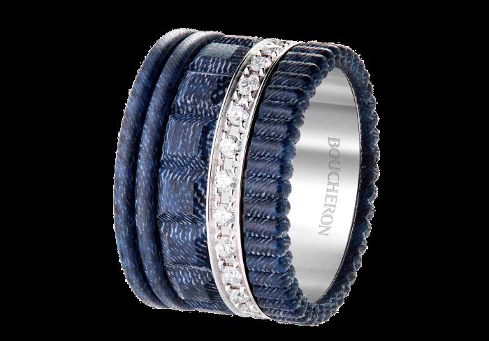 Boucheron denim, resin and white-diamond Quatre Jean ring, POA