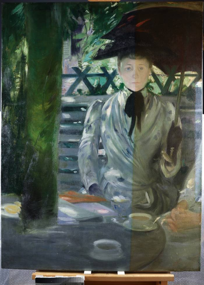 Portrait of a Lady by Jacques-Emile Blanche (1861-1942), in process of restoration
