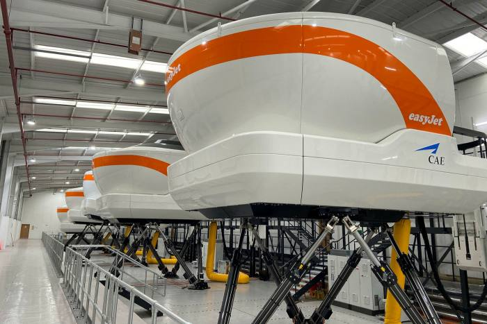 EasyJet simulators at the company's training base near Gatwick airport
