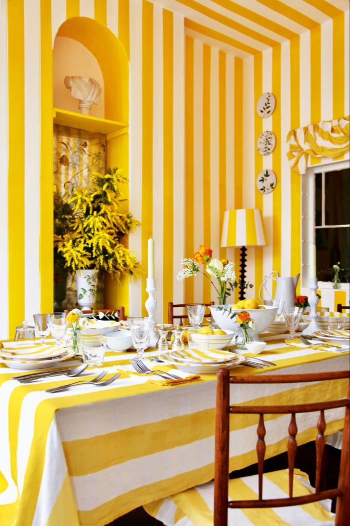 Summerill & Bishop Linen Stripe Tablecloth, £275, and matching Napkins, £25 each