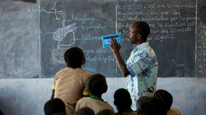 Teaching in Baigai, northern Cameroon, using Unicef's solar-powered satellite internet pilot scheme