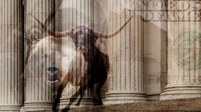 A montage showing a bull, a bear and the pillars of an ornate building overlaid by a $100 dollar bill image