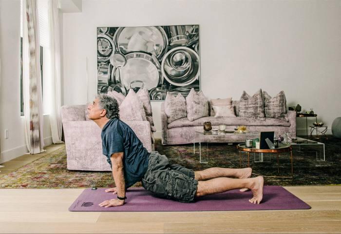Deepak Chopra practising yoga