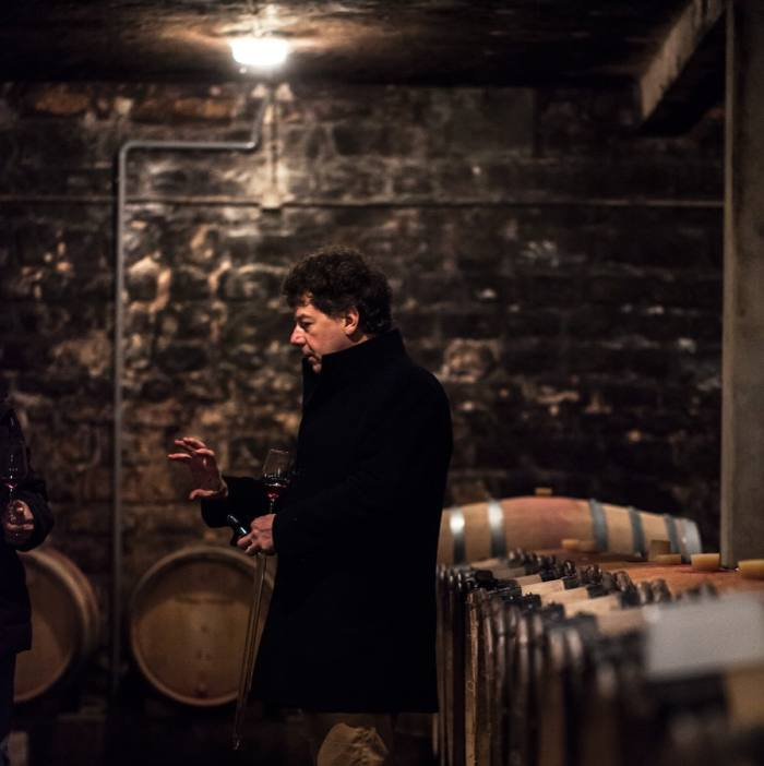 The winemaker Philippe Pacalet in his cellar in Beaune