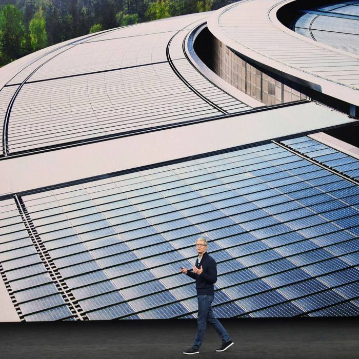 Apple chief executive Tim Cook. The combined power usage of Amazon, Google, Microsoft, Facebook and Apple is more than 45 terawatt-hours a year, about as much as New Zealand