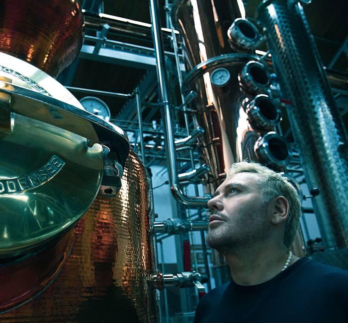 Mert Alas at the distillery