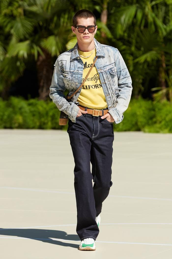 Amiri Bandana Print Trucker jacket, £955, and five-pocket flared-leg jean, £605