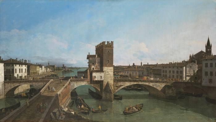 'View of Verona with the Ponte delle Navi' (1745-47) by Bernardo Bellotto