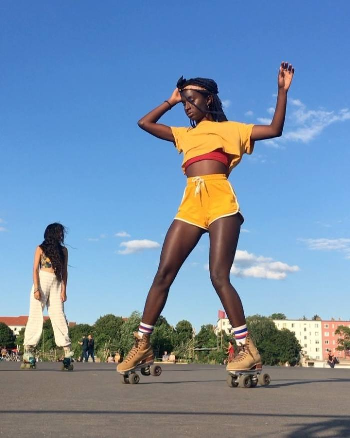 Oumi Janta's rollerskating video, which has more than 2.9m views on Instagram