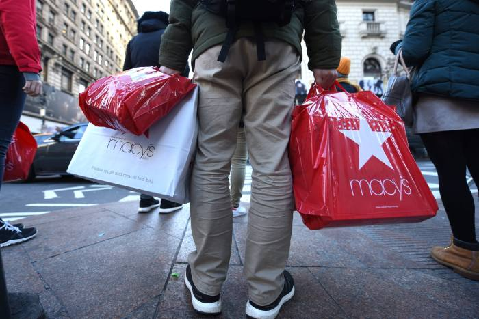 In this file photo taken on November 24, 2017 shoppers take advantage of the Black Friday sales the day after Thanksgiving in New York City.