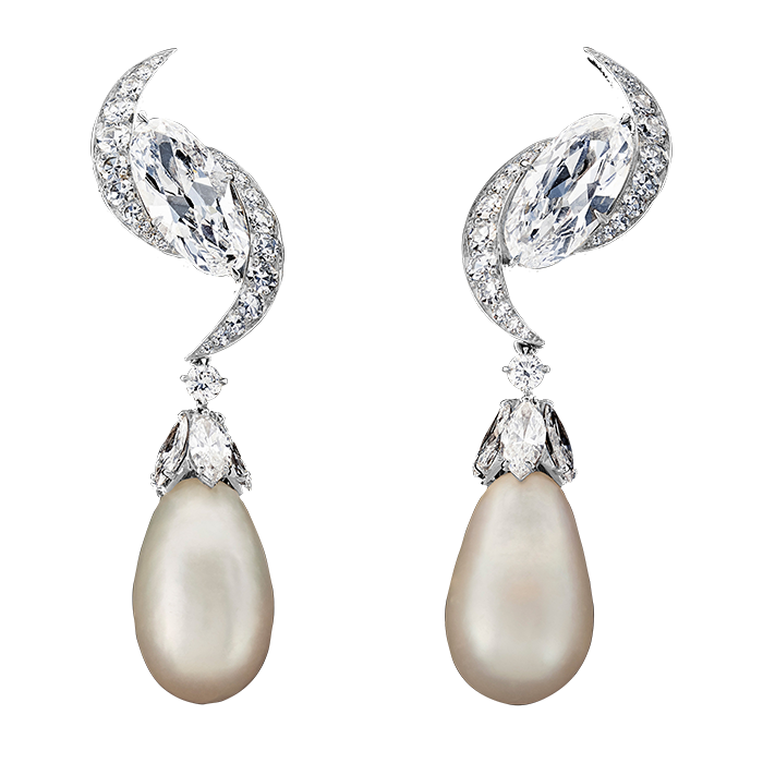 Old mine diamond and natural pearl earrings