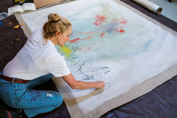 Ackermann working in her NewYork studio