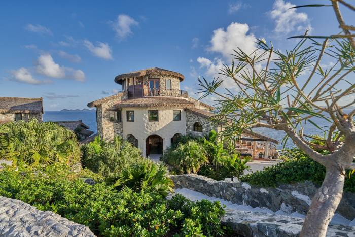 Aerial BVI Buck Island – the private eco-retreat can host up to 30 guests