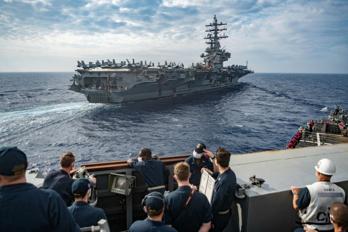 The USS Barry in the South China Sea. The US navy has conducted freedom of navigation operations in the Taiwan Strait and held dual aircraft carrier exercises in the South China Sea — only the third time that has occurred since 2012