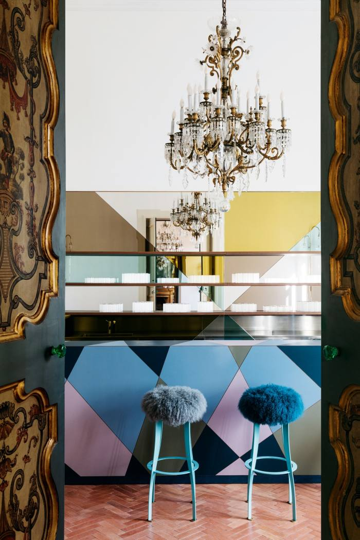The barand stools custom-made for the palazzo by Martino Gamper