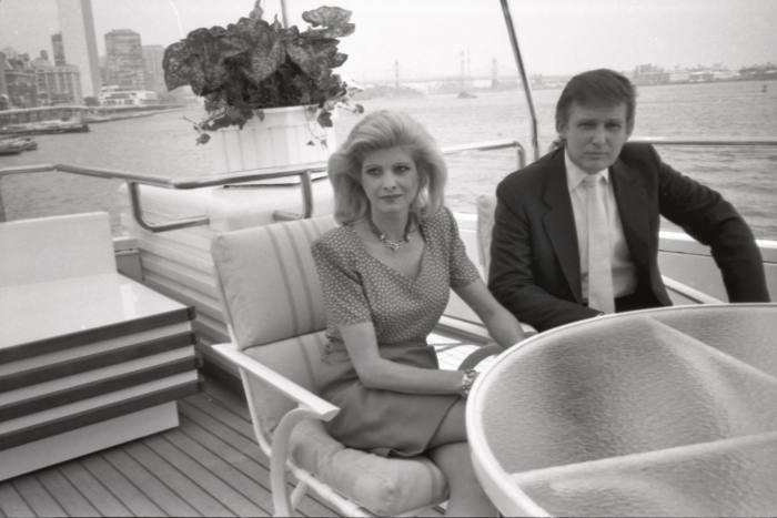 Donald Trump and his wife Ivana aboard the Trump Princess, formerly known as Nabila, in 1988