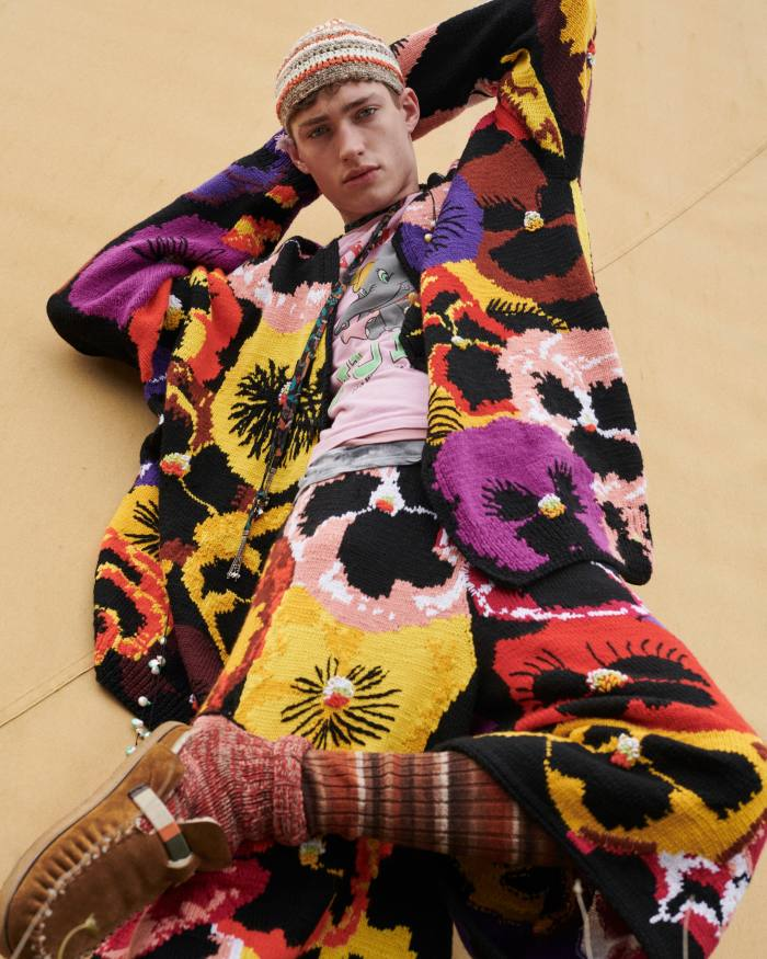 Valentin wears Loewe wool cardigan, £2,100, and wool shorts, £1,750. T-shirts, model's own. Nick Fouquet – Federico Curradi suede and shearling shoes, £623. Umit Benan cotton hat, £170. Etro silk foulard choker, £420. Panconesi enamel and natural-pearl necklaces (worn as brooches), €325 each. Falke cotton Brooklyn socks, £20, and long socks, model's own