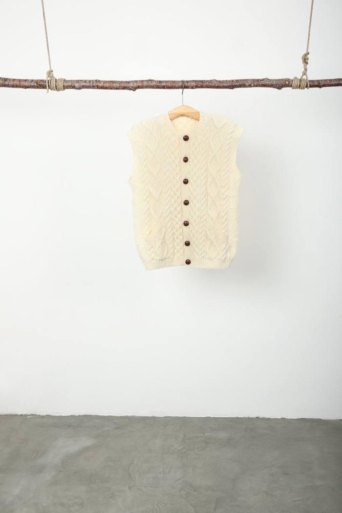 The Tweed Project Aran sleeveless cardigan, €390