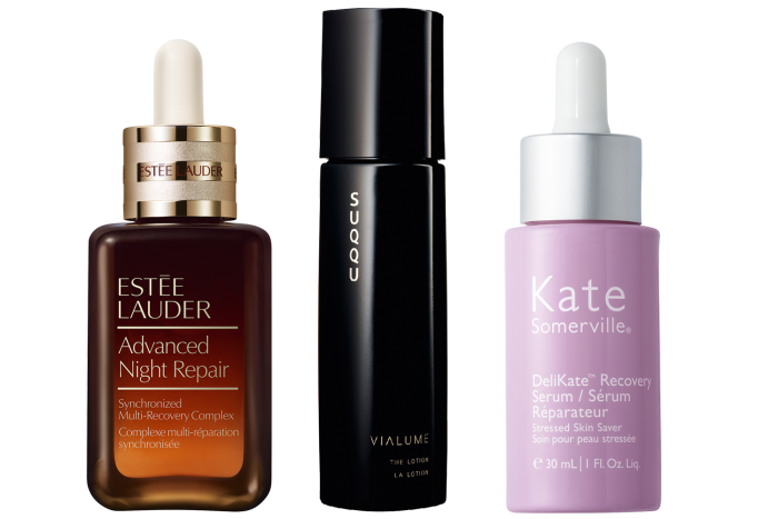 Estée Lauder Advanced Night Repair, £82 for 50ml. Suqqu Vialume The Serum, £150 for 50ml. Kate Somerville DeliKate Recovery Serum, £70 for 30ml
