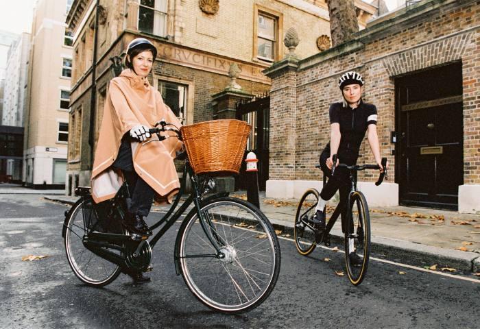Beatrice (far left) wears Dashel Urban Cycle Helmet, £79. Weathergoods Imbris Rain Poncho, €139. Proviz reflective gloves, €49, jesuisavelo.com. Flora wears Kask Protone helmet, £199, and Universal Colours cycling cap, £20, both sigmasports.com. Rapha Women's Pro Team jersey, £120. Assos Uma GT tights, £150. Universal Colours socks, £18, sigmasports.com. Specialized S-Works 6 shoes, £310. Flora rides Specialized Roubaix Pro Sram Force eTAP AXS, £6,400, sigmasports.com