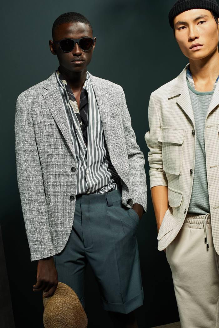Z Zegna (left) cotton/linen jacket and wool/mohair shorts; (right) wool/silk/hemp jacket and cotton joggers, allPOA