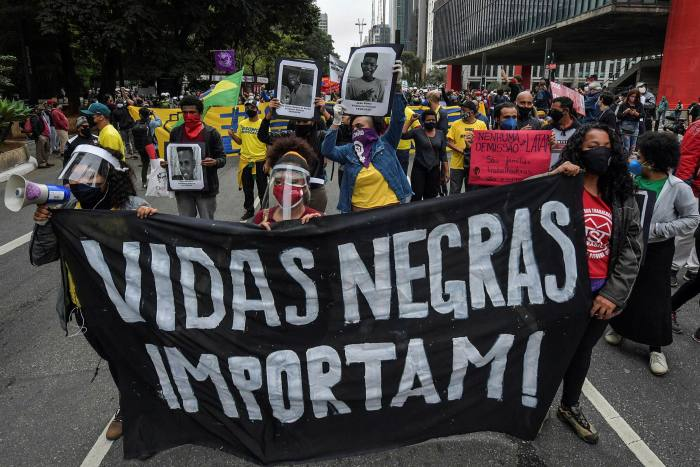 A Black Lives Matter march in São Paulo. Black or mixed-race people are drastically under-represented at executive level in Brazilian businesses