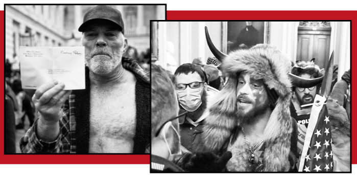 Richard 'Bigo' Barnett, who raided Nancy Pelosi's office, and Jake Angeli, A QAnon devotee who dresses in fur and horns