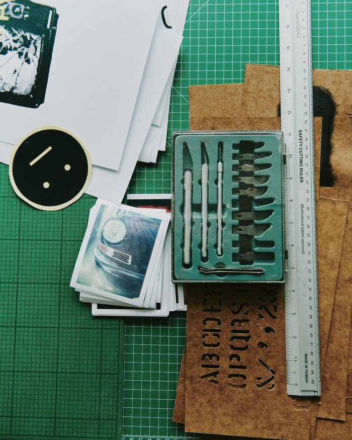Tools and stencils in the studio
