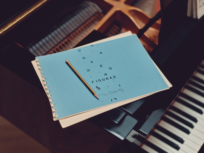 One of Richter's notebooks on his Yamaha grandpiano