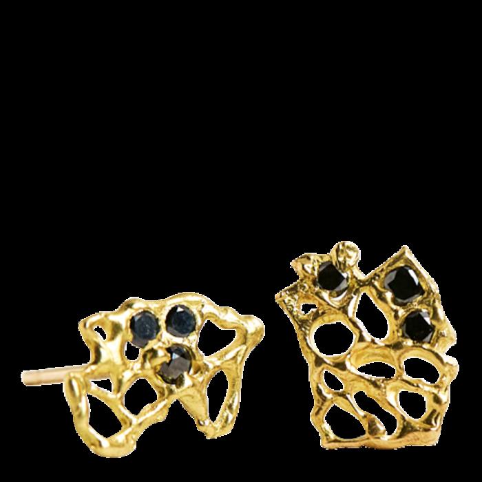 Laura Caspi 18ct-gold and black diamond Venus Fan earrings, $975
