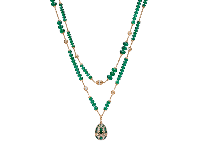 Fabergé rose-gold, emerald and diamond necklace with elephant surprise locket, POA