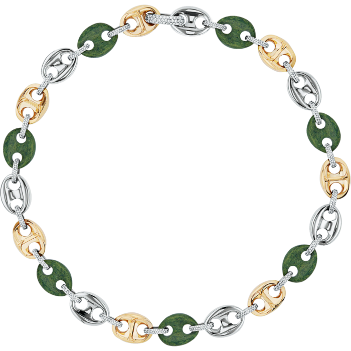 Dior crystal-detail gold- and silver-finish brass andjade CD Icon necklace,£1,750